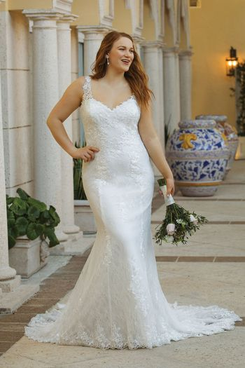 Sincerity Bridal Style 44062 Slim Allover Lace Gown with Keyhole Back Detail