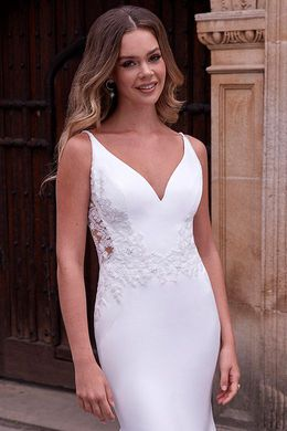 Adore by Justin Alexander Style 11191 Farrah Clean Fit and Flare Dress with Beaded Illusion Side Cutouts