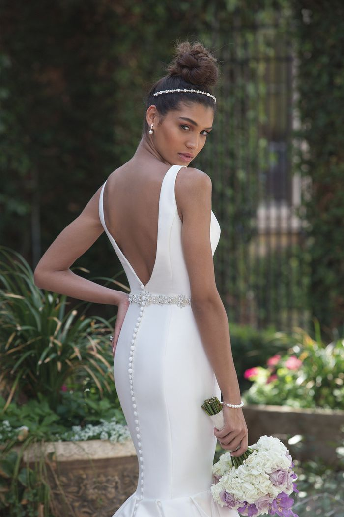 Sincerity Bridal Style 4008 Mikado Mermaid Gown with Plunging Back