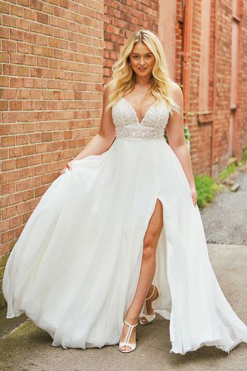 Justin Alexander Style 88035PS Heavily Beaded Illusion Bikini Bodice A-line Plus Size Gown