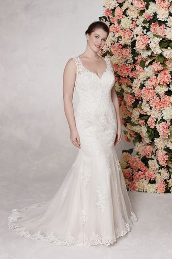 Sincerity style 44142 Open V-Neckline with Straps Fit and Flare Dress