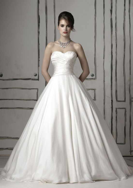 Justin Alexander Style 8502 Silk chiffon ball gown featuring a sweetheart neckline