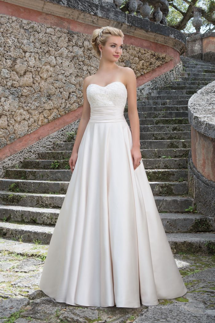 Sincerity Bridal Style 3877 Satin Ball Gown with Pockets and Illusion Sabrina Neckline