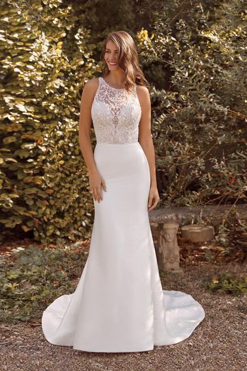 Justin Alexander Style 88135 Ava Stretch Mikado Fit and Flare Gown with Criss-Cross Back Straps