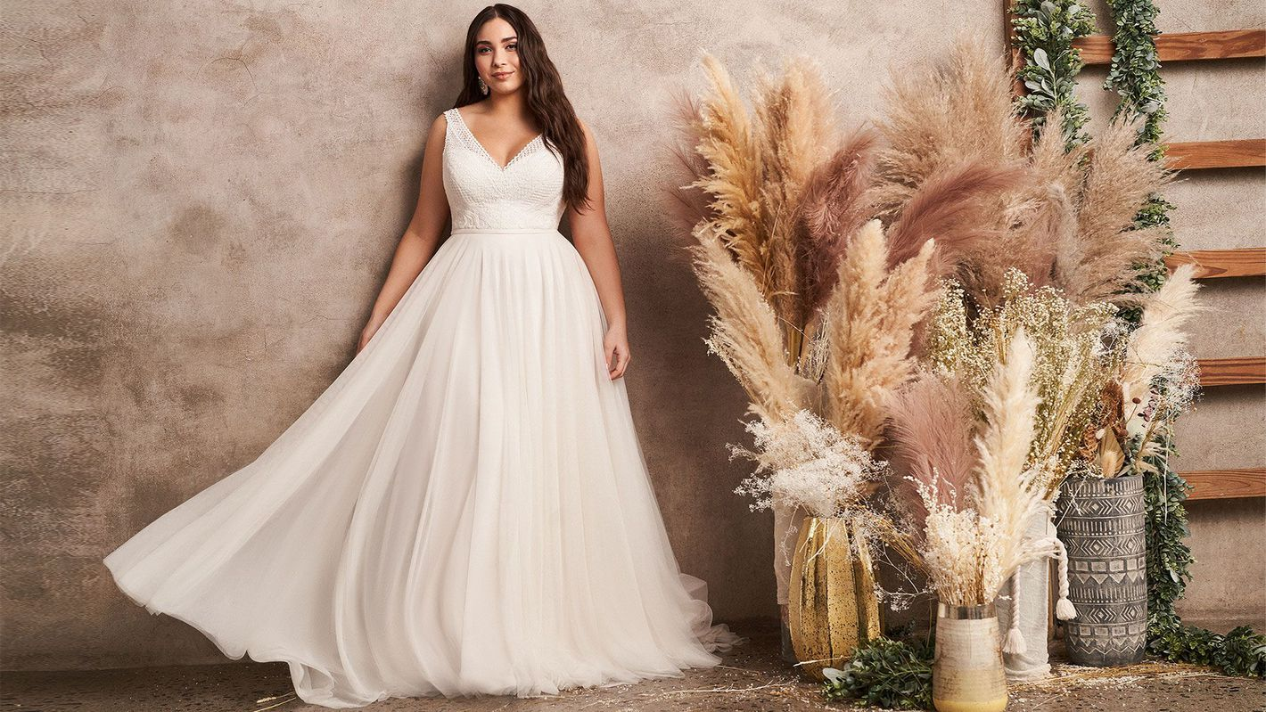 - Style 66122PS: Plus Size English Net A-Line Dress with Lace Bodice