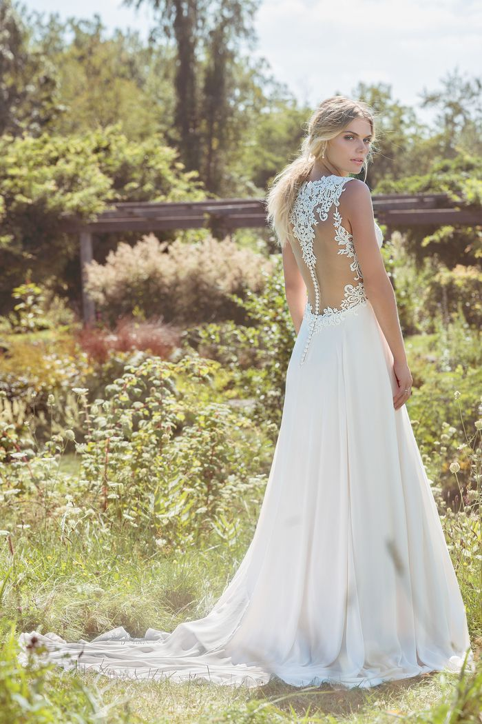 Lillian West Style 6484 Chiffon Gown with Illusion Back and Deep V-Neckline