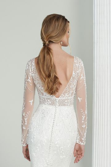 Justin Alexander Signature Style 99222 Yoko Long Sleeve Gown with Glitter Tulle and Allover Beaded Embroidery