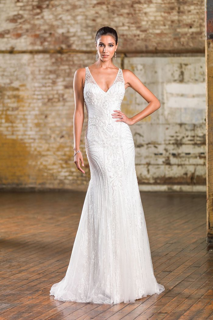 Justin Alexander Signature Style 9839 V-Neck Metallic Silk Fit and Flare Bridal Gown