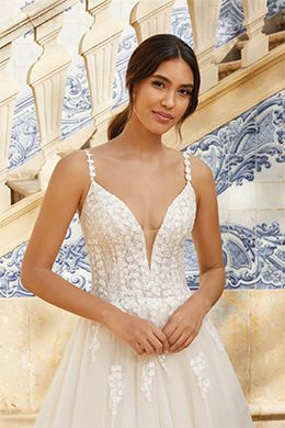 Sincerity Bridal Style 44255 Plunging Neckline Sparkle Tulle Ball Gown with Sequins