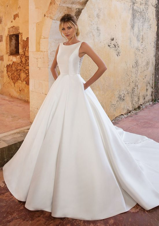Justin Alexander Style 88038 Clean Mikado Ball Gown with Crystal Buttons