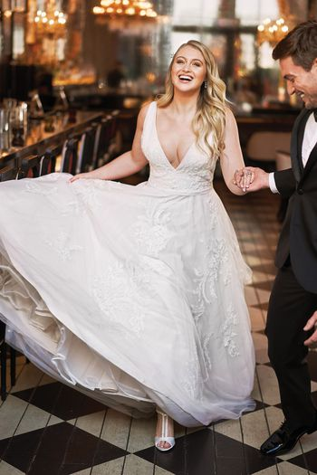 Justin Alexander Style 8953 English Net and Tulle V-Neck Gown with Beaded Lace Appliqués Iskra Lawrence