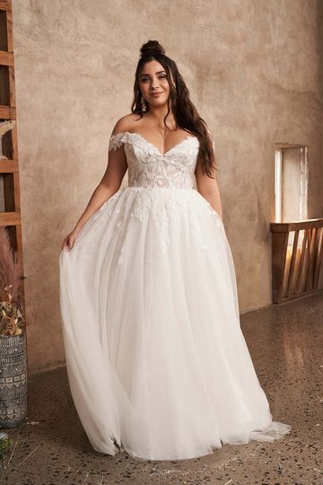 Lillian West Style 66196PS Sparkly Plus Size English Net A-Line Gown with Off the Shoulder Neckline