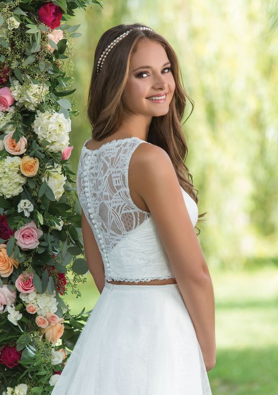 Sweetheart Gowns Style 6140 English Net and Lace Skirt and Cropped Top with Sabrina Neckline