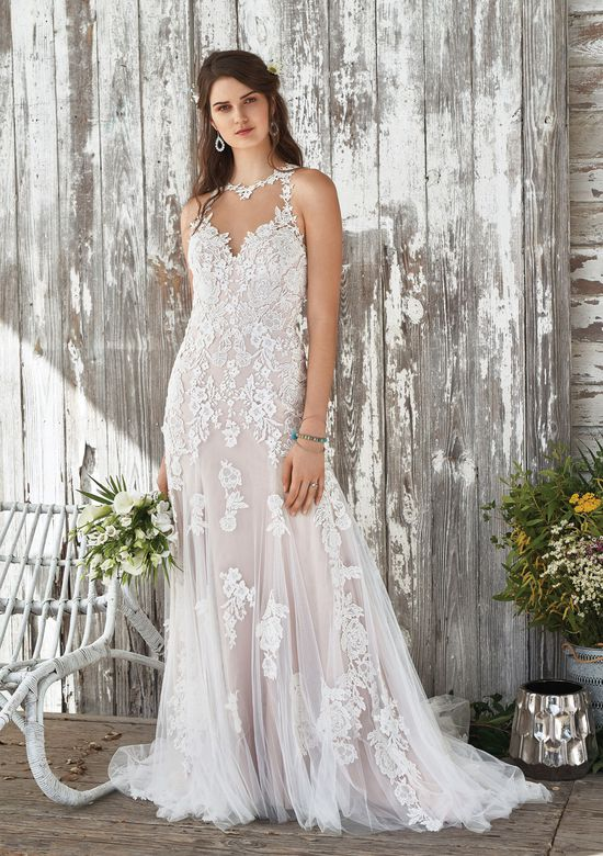 Lillian West Style 66050 Illusion Jewel Neckline Gown with Soft Tulle Skirt