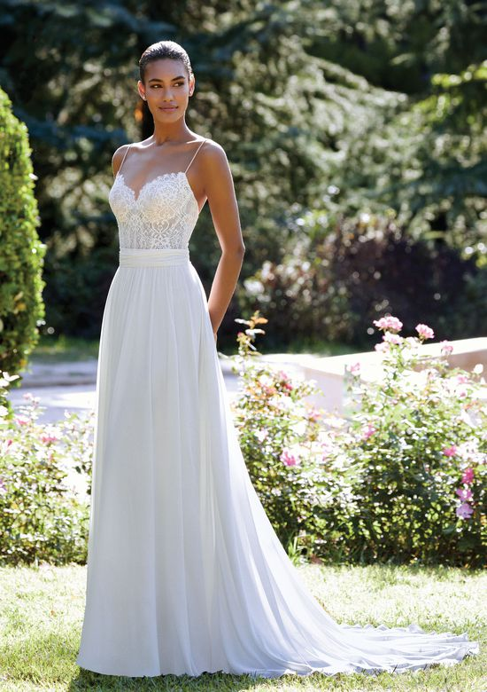 Sincerity Bridal Style 44110 A-Line Chiffon Dress with Chantilly Lace Bodice