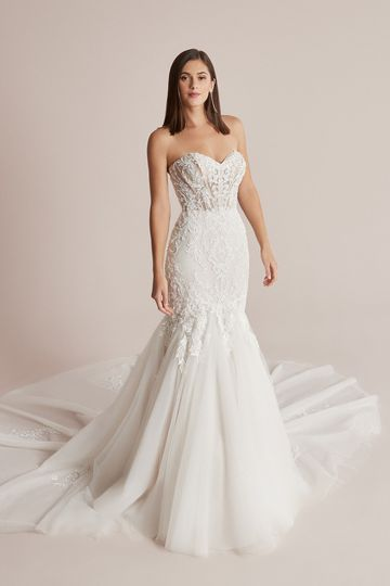Justin Alexander Style 88222 Cain Lace Trumpet Gown with Detachable Long Sleeves and Exposed Boning
