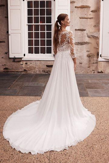 Sincerity Bridal Style 44266 Sabrina Neckline Chiffon Gown with Three Quarter Length Sleeves