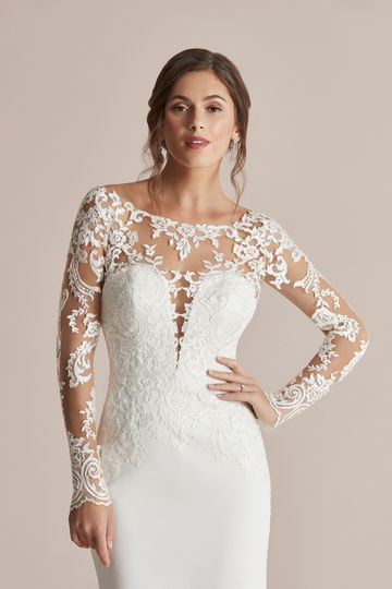 Justin Alexander Style 88206 Callie Long Sleeve Fit and Flare Dress with Detachable Illusion Train