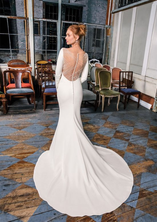 Justin Alexander Signature Style 99002 Crepe Gown with Illusion Beaded Back Detail