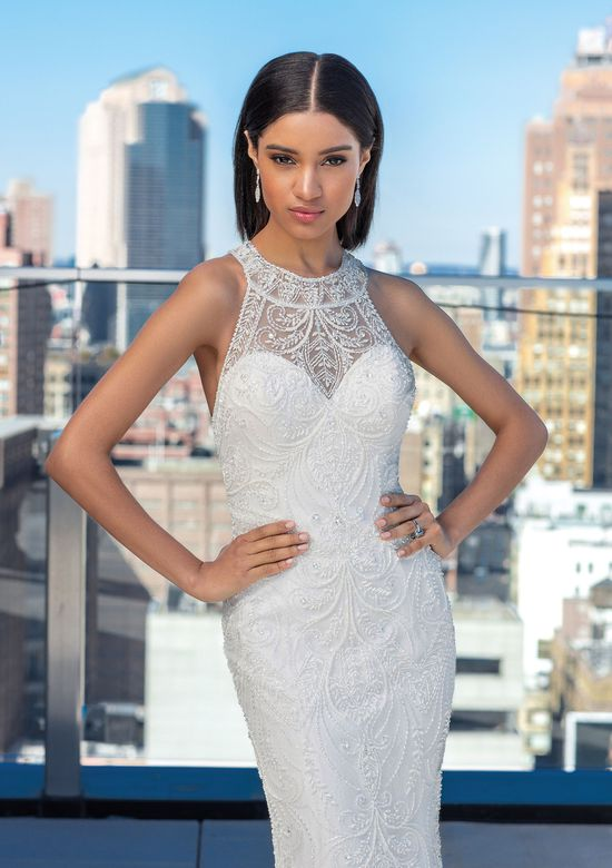 Justin Alexander Signature Style 99026 Allover Beaded Fit and Flare Dress with Jewel Neckline