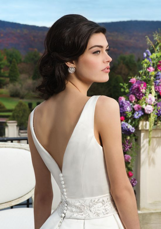 Sincerity Bridal Style 3810 Satin ball gown accented by a Sabrina neckline