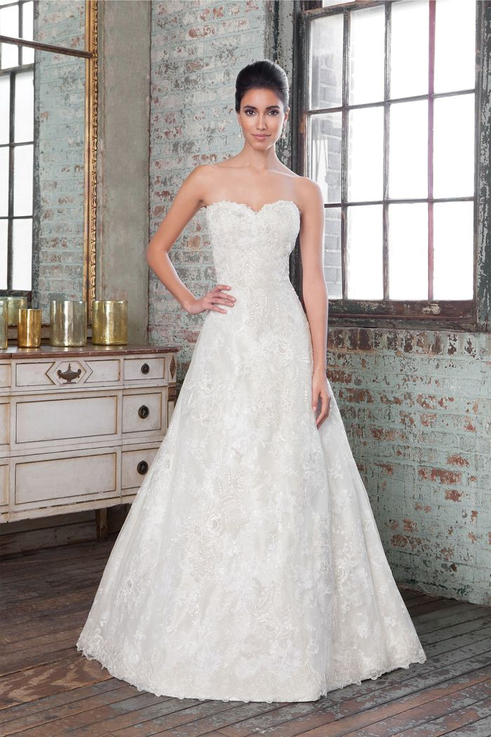 Justin Alexander Signature Style 9801 Lace and Metallic Silk A-Line Gown with Sweetheart Neckline