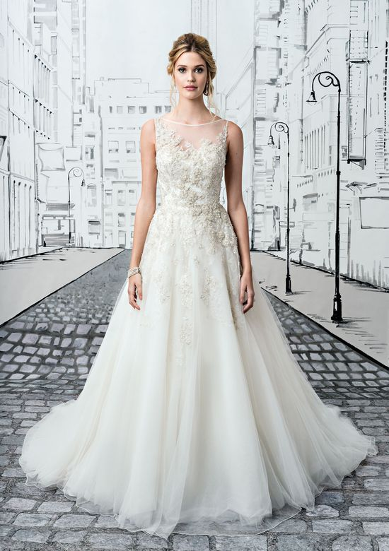 Justin Alexander Style 8726 Beaded Embroidered Lace Ball Gown with Sabrina Neckline