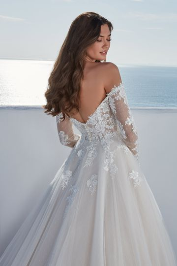 Justin Alexander Style 88193SL Brielle Sleeves Detachable Off the Shoulder Long Sleeves with Point D'esprit