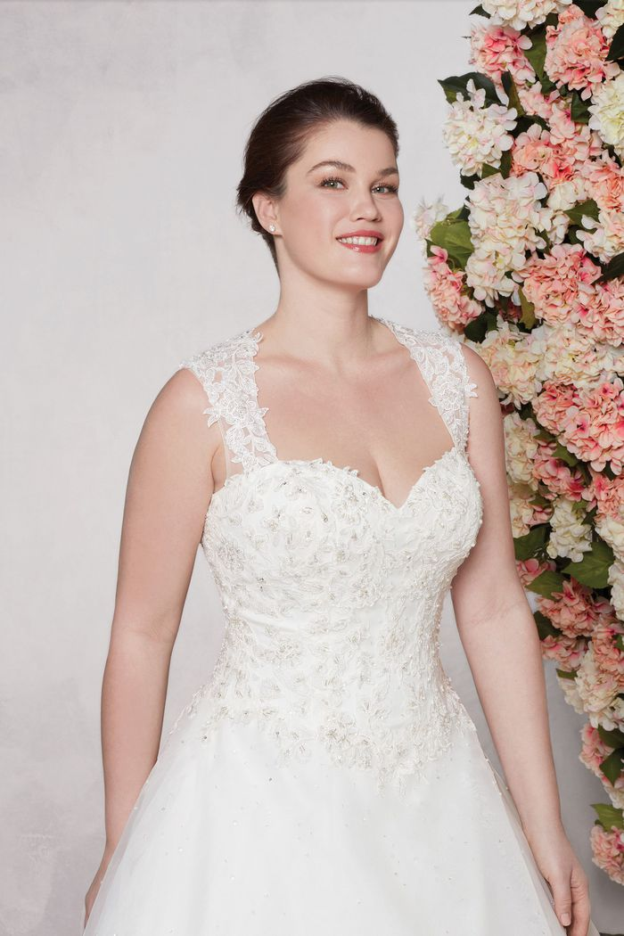 Sincerity Bridal Style 4009 Embroidered Lace and Tulle Gown with Cascaded Beading