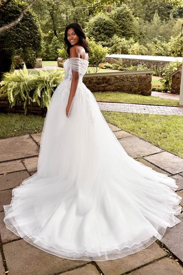 Sincerity Bridal Style 44273 Strapless Basque Waist Tulle Ball Gown with Exposed Boning