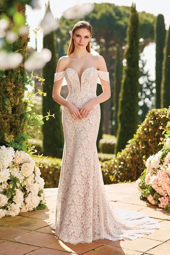 Sincerity Bridal Style 44184 Allover Lace Fit and Flare Gown with Detachable Sleeves