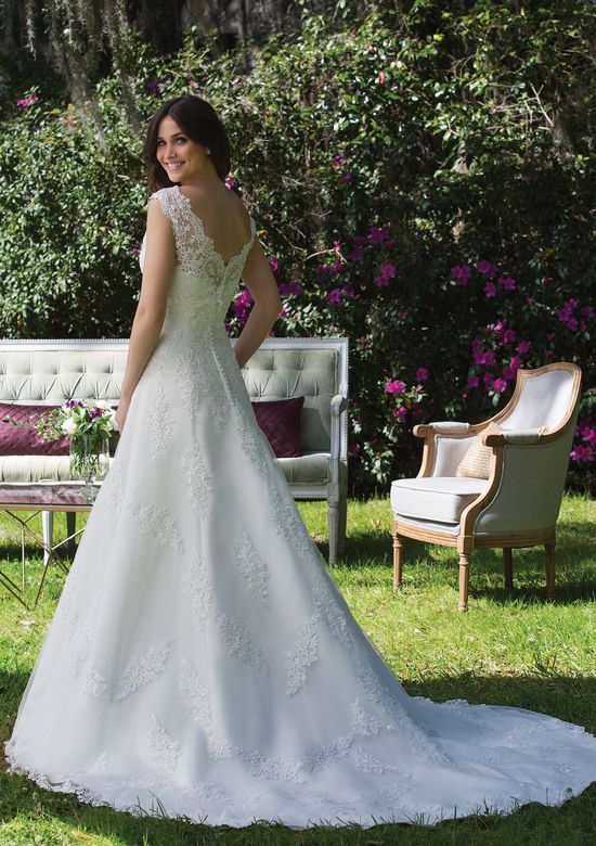 Sincerity Bridal Tulle and Satin A-Line Gown with Sequined Lace Appliqués