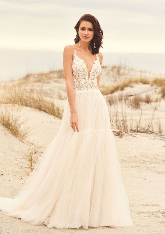 Lillian West Style 66105 Gathered Tulle Skirt A-Line Gown with Keyhole Back