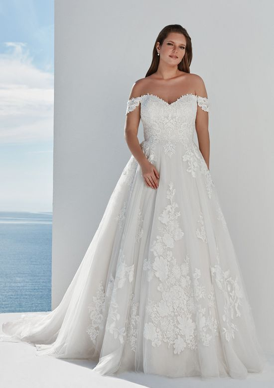 Justin Alexander Style 88122 Venice Tulle Ball Gown with Off the Shoulder Detail