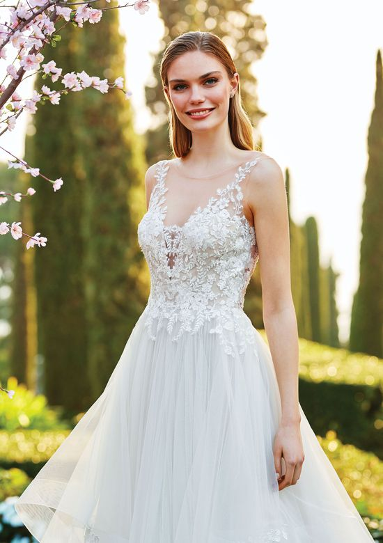 Sincerity Bridal Style 44183 Illusion Plunge Bodice and Tiered Ruffle Skirt Ball Gown
