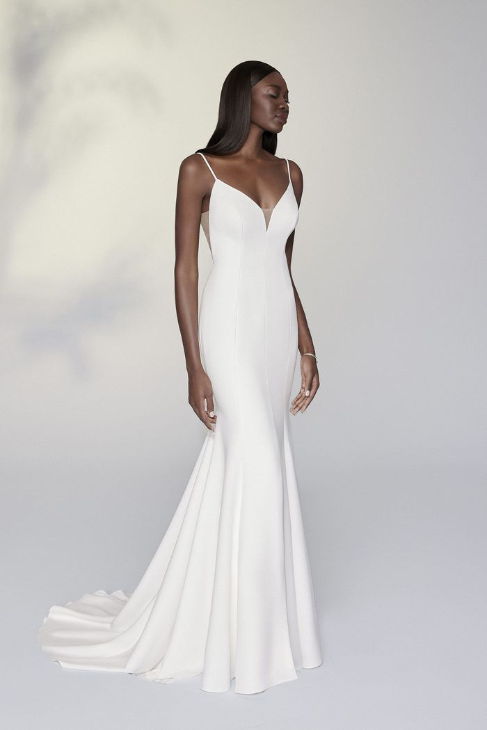Justin Alexander Signature Style 99196 Nadia Clean Fit and Flare Dress with Bikini Neckline