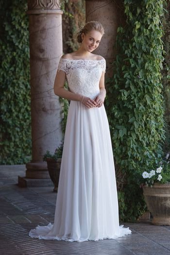 Sincerity Bridal Style 4003 Sweetheart Chiffon Gown with Beaded Embroidered Lace Jacket