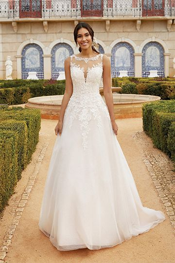 Sincerity Bridal Style 44252 Glitter Tulle Ball Gown with Beaded Lace Appliqués