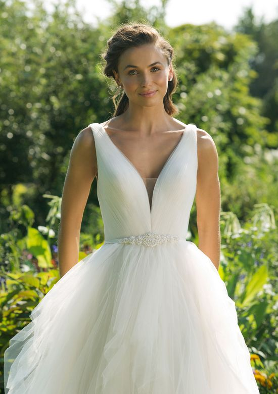 Sweetheart Gowns Style 11021 V-Neck A-line Gown with Handkerchief Tiered Skirt