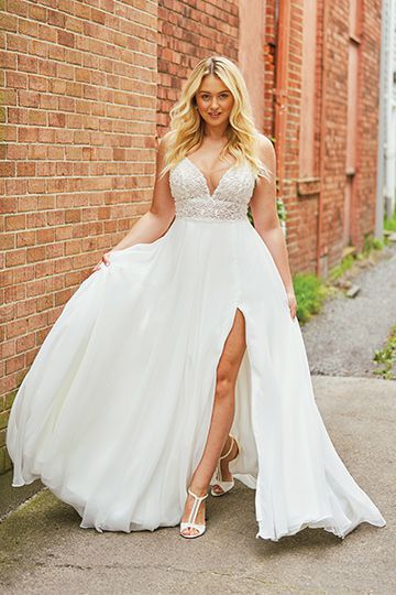 Justin Alexander Style 88035 | Heavily Beaded Illusion Bikini Bodice A-line Gown Iskra Lawrence