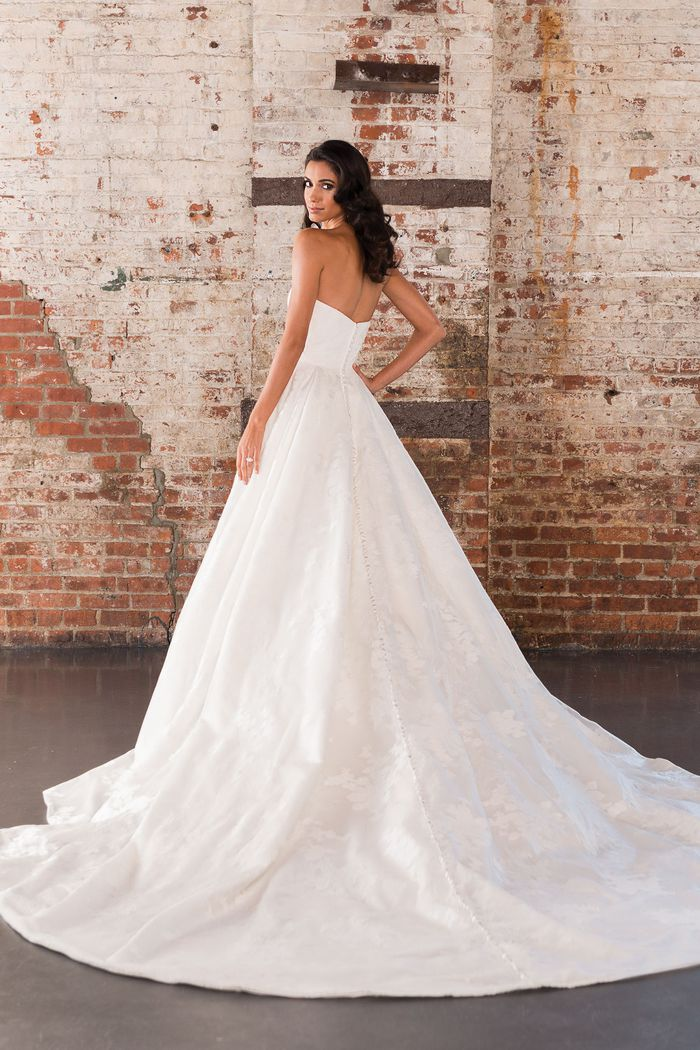 Justin Alexander Signature Style 9858 Organza Ball Gown with Allover Lace Appliques and Monarch Train