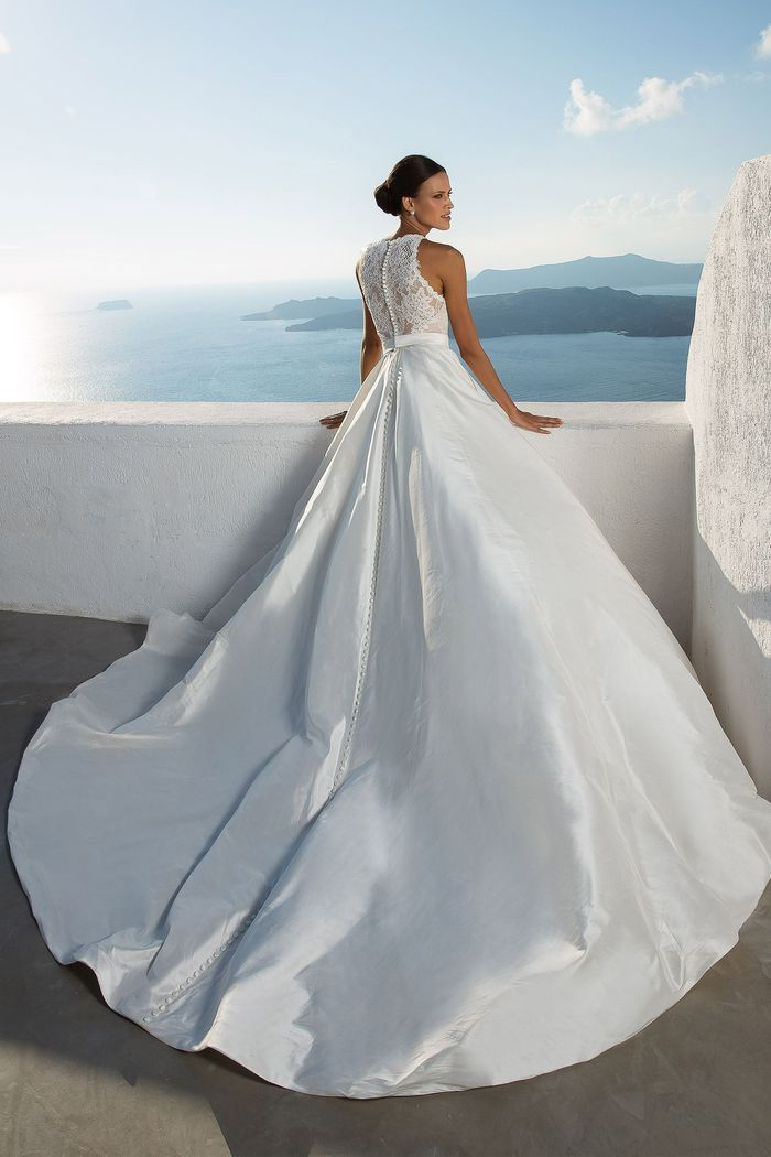 Justin Alexander Style 88001 Silk Dupion Ball Gown with Illusion Jewel Neckline