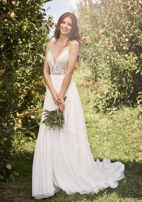 Lillian West Style 66137 Chiffon Gypsy Skirt Gown with Illusion Bodice and Tie Straps