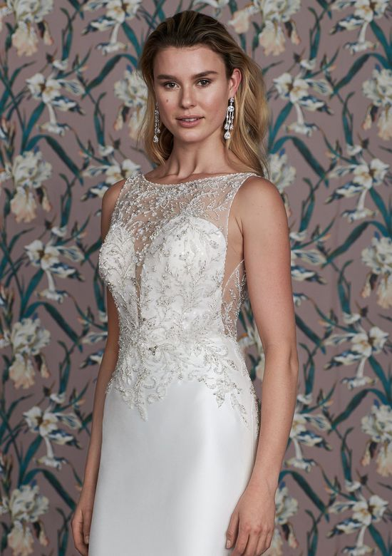 Justin Alexander Signature Style 99148 PEPPER Mermaid Dress with Beaded Sabrina Neckline and Scoop Back