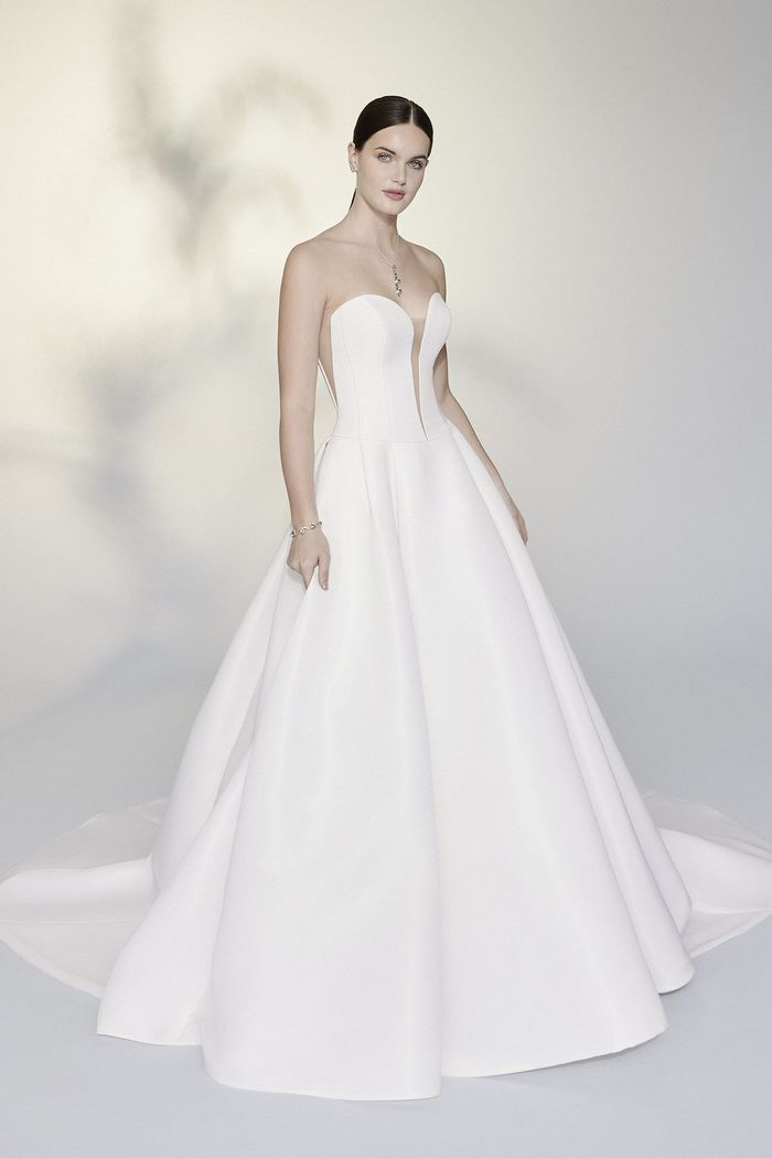 Justin Alexander Signature Style 99197 Zizi Faille Ball Gown with Basque Waist