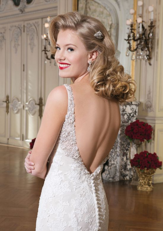 Justin Alexander Style 8737 Beaded V-Neck Fit and Flare Lace Gown with Low Back