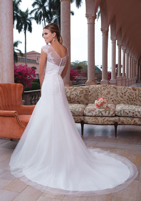 Sweetheart Gowns Style 6067 Tulle, corded lace fit and flare dress accentuated with a sweetheart neckline