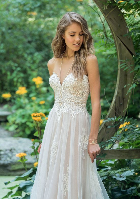 Lillian West Style 66008 Scattered Lace Applique Sweetheart Strapless Gown