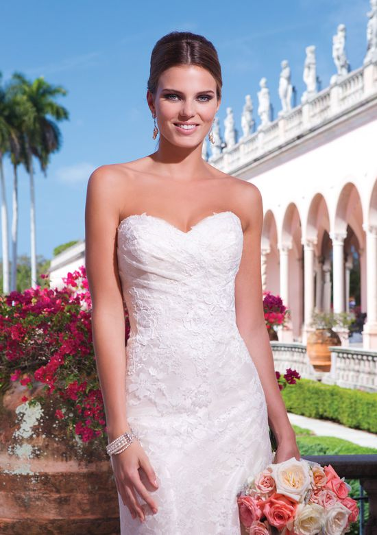 Sweetheart Gowns Style 6050 Ruched Bodice Chantilly Lace Fit and Flare Dress