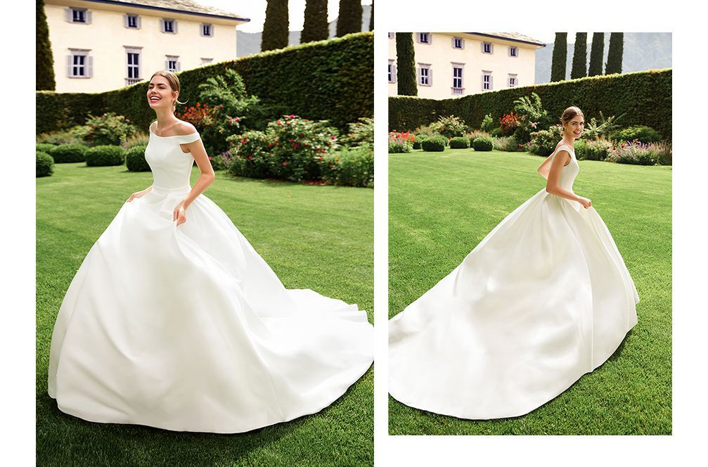 Sincerity Bridal Style 44122 Portrait Off the Shoulder Neckline Clean Ball Gown